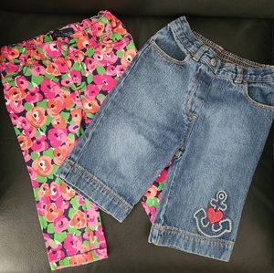 EUC 2 Pairs Spring Summer Pants Size 12-18 Months